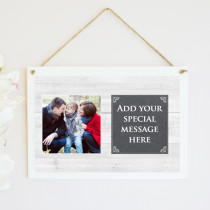 Personalised Wood Grain Photo Hanging Plaque With Text