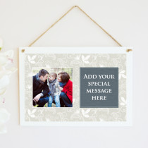 Personalised Cream Floral Photo Hanging Plaque With TextPersonalised Cream Floral Photo Hanging Plaque With Text