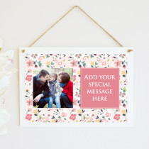 Personalised Pink Floral Photo Hanging Plaque With Text