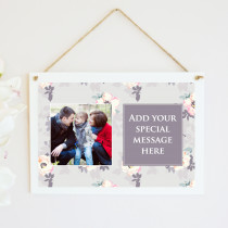 Personalised Grey Floral Photo Hanging Plaque With Text