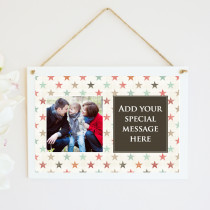 Personalised Stars Photo Hanging Plaque With Text