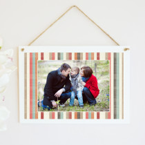 Personalised Stripes Photo Hanging Plaque