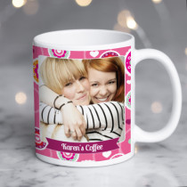 Personalised Bright Pink Floral Pattern Photo Mug