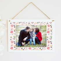 Personalised Pink Floral Photo Hanging Plaque