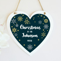 Christmas Family Wreath Non Photo - Hanging Heart
