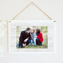 Personalised White Wood Grain Photo Hanging Plaque