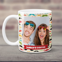 Personalised Moustache Pattern Photo Mug