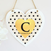 Personalised Monochrome Initial Hanging Heart