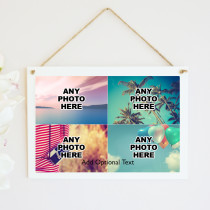 Personalised Photo Hanging Plaque With Text - Four Photo Upload