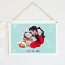 Personalised Christmas Fox And Owl Photo Upload - Hanging Plaque
