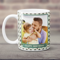 Personalised Green And Cream Checked Photo Mug