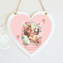 Personalised Floral Frame Photo Hanging Heart