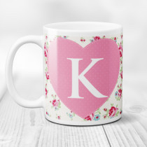 Personalised Rose Pattern Initial Mug