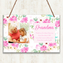 Personalised Grandma Photo Hanging Plaque