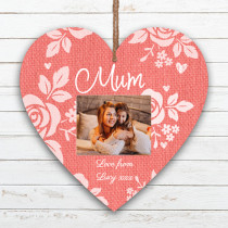 Personalised Mum Photo Hanging Heart