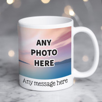 Personalised Two Photos Ceramic Mug With Text