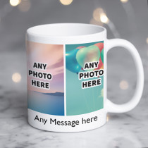 Personalised Four Photos Ceramic Mug With Text
