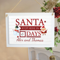Personalised Santa Stop Here - Large Hanging Sign