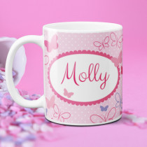 Personalised Pink And Lilac Butterflies Mug