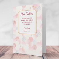 Personalised Teacher Rose Gold - Printed Card