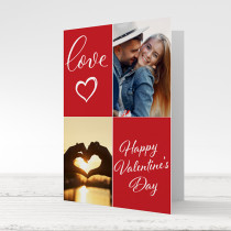Valentine's Day Four Photos With Optional Text - Printed Card