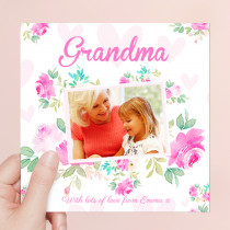 Personalised Grandma Luxury Fabric Photo Card