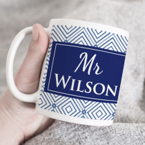 Personalised Thank You Teacher Blue Geometric - Ceramic Mug