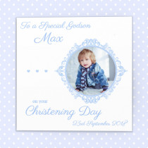 Personalised Blue Delicate Frame with Photo Upload - Luxury Greeting Card