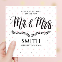Personalised Mr and Mrs Wedding Luxury Fabric Card