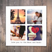 Personalised Love You Photo Card - Luxury Fabric Card