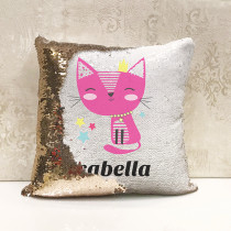 Personalised Cat reversible Sequin Cushion