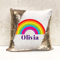 Personalised Rainbow Magic Sequin Cushion