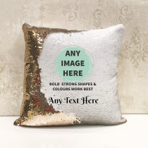 Personalised photo reversible sequin cushion with text