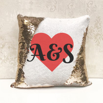 Personalised Heart - Magic Sequin Cushion