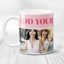 Personalised Pink Background Landscape Photo Mug