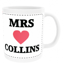 Personalised Mrs Red Heart Design - Mug