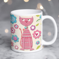 Personalised Cute Cat Fabrique Mug
