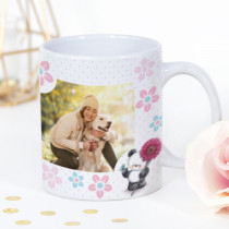 Personalised Party Paws Flower Photo Mug