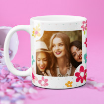 Personalised Bright Flowers Photo Mug