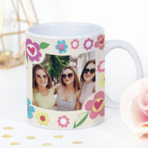 Personalised Flowers and Hearts Fabrique Photo Mug