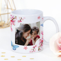 Pink Blossom And Butterflies Photo Mug