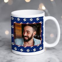 Personalised Football Pattern Photo Mug