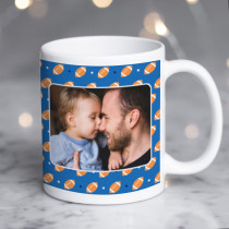 Personalised Rugby Pattern Photo Mug