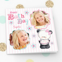 Party Paws Happy Birthday Luxury Fabric Photo Card