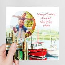 Personalised Watercolour Boats Photo Card - Luxury Fabric Card