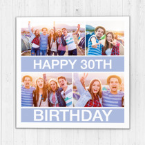 Personalised Modern Four Photo Luxury Fabric Photo Card