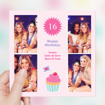 Personalised Cupcake Big Age Luxury Fabric Photo Card