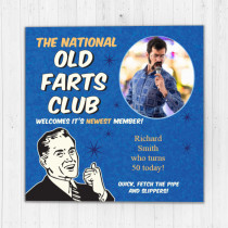Personalised Old Farts Club Photo Card - Luxury Fabric Card