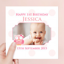 Personalised Cute Pink Owl Luxury Fabric Photo Card