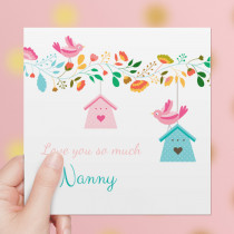 Personalised Modern Birdhouse Luxury Fabric Card